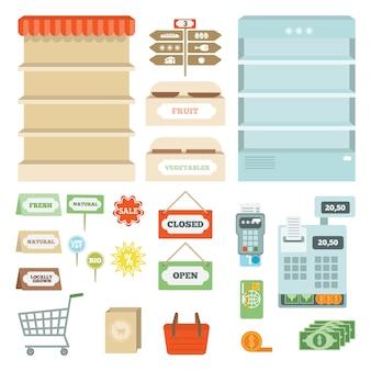 Conjunto de elementos de supermercado