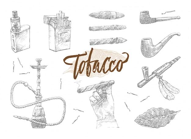 Conjunto de elementos de tabaco dibujados a mano