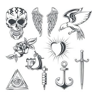 Conjunto de elementos de tatuaje