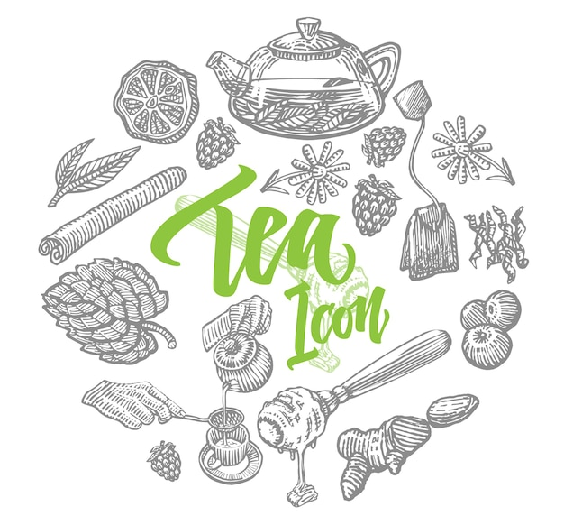 Conjunto de elementos de té dibujados a mano
