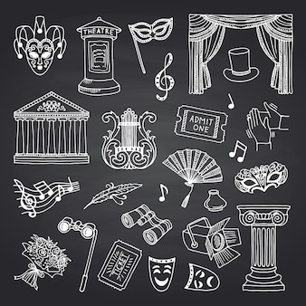 Conjunto de elementos de teatro doodle en pizarra negra