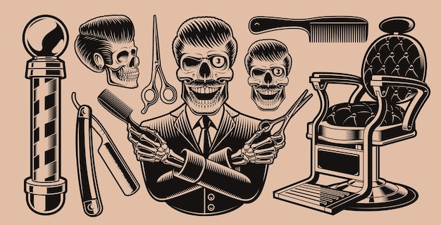 Conjunto de elementos para el tema de la barbería sobre un fondo oscuro. estas ilustraciones son perfectas para diseños de indumentaria, logotipos y muchos otros usos.