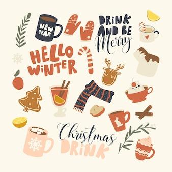 Conjunto de elementos tema de bebidas navideñas