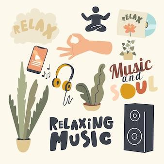 Conjunto de elementos tema musical relajante