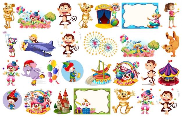 Conjunto de elementos temáticos de circo y objetos.