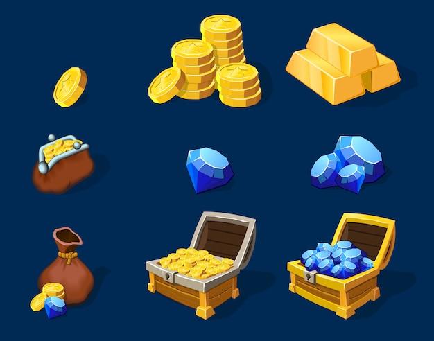 Conjunto de elementos de tesoro de dibujos animados