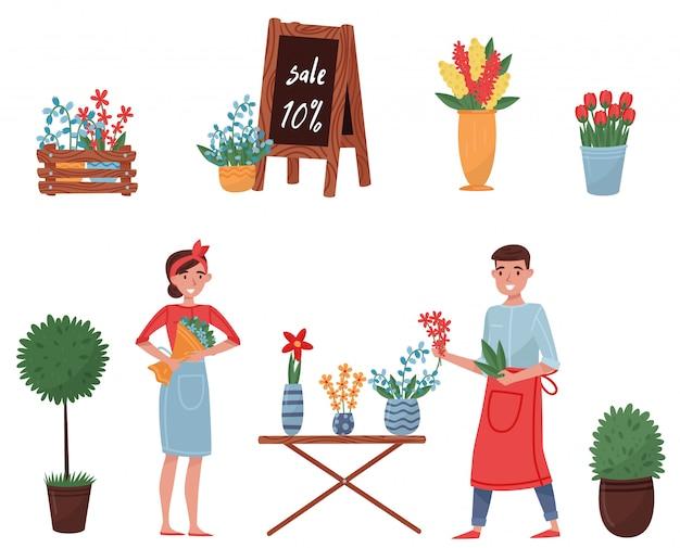 Conjunto de elementos de la tienda de flores. lindas plantas para la decoración del hogar, flores florecientes, floristas hombre y mujer