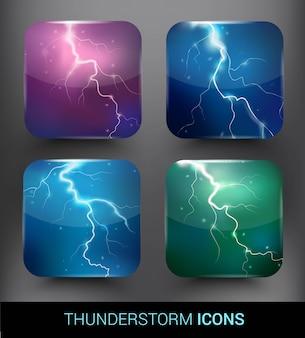 Conjunto de elementos de tormenta realista
