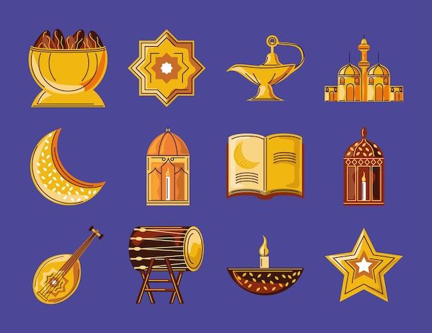 Conjunto de elementos tradicionales de celebración de ramadan kareem