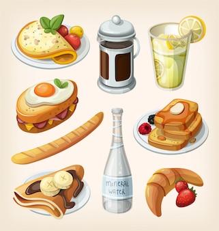 Conjunto de elementos tradicionales de desayuno francés y platos. ilustraciones
