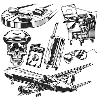 Conjunto de elementos de transporte aéreo para crear sus propias insignias, logotipos, etiquetas, carteles, etc.