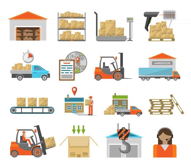 Conjunto de elementos de transporte de almacén.