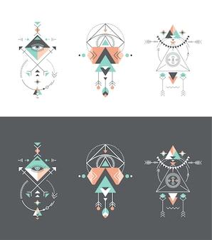 Conjunto de elementos tribales y aztecas.