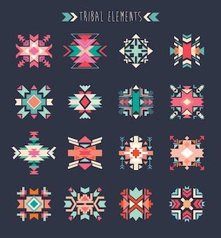 Conjunto de elementos tribales, una colección de elementos étnicos geométricos.