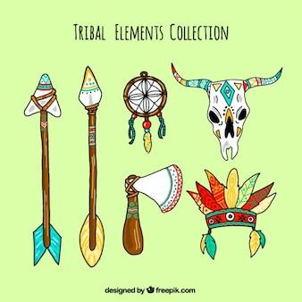 Conjunto de elementos tribales en estilo boho