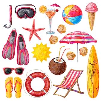 Conjunto de elementos de vacaciones de verano