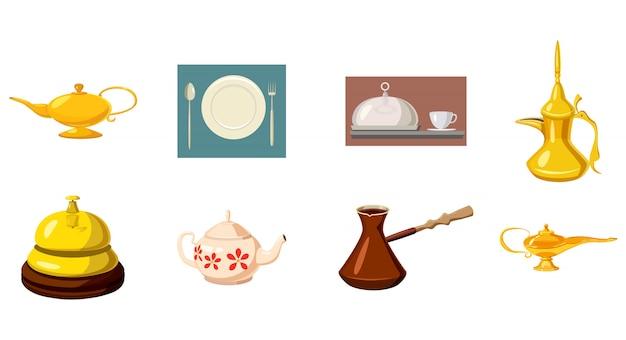 Conjunto de elementos de vajilla. conjunto de dibujos animados de vajilla