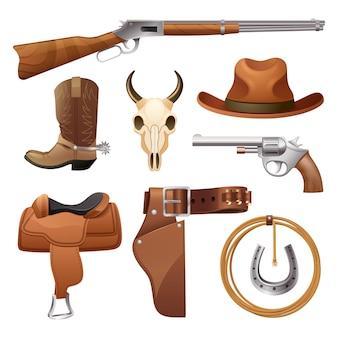 Conjunto de elementos de vaquero