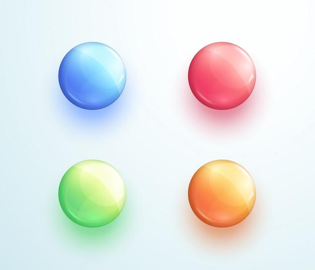 Conjunto de elementos de vector de forma de botón redondo brillante