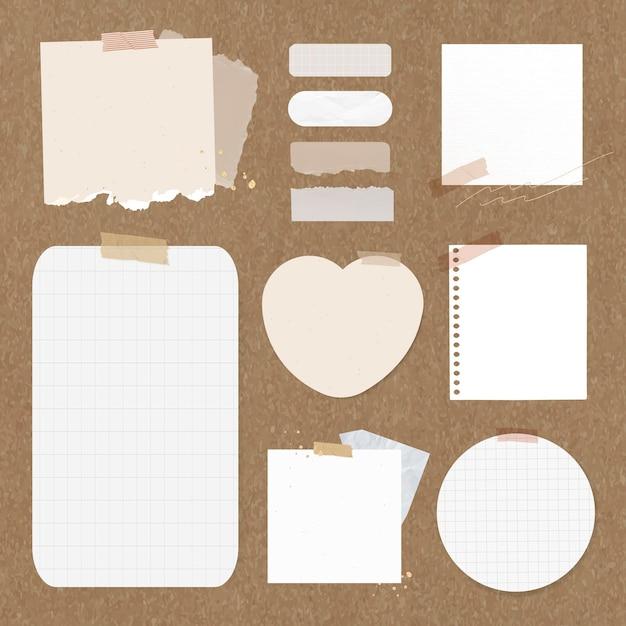 Conjunto de elementos vectoriales de nota digital, paquetes de pegatinas digitales rosas