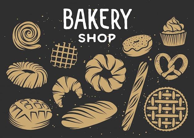 Conjunto de elementos vectoriales de panadería grabados.