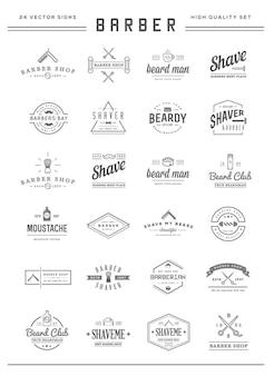 El conjunto de elementos vectoriales de peluquería y la ilustración de los iconos de la tienda de afeitado se pueden utilizar como logotipo o icono en calidad superior