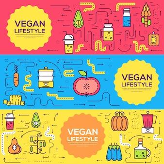 Conjunto de elementos vegetales. icono de comida en la mesa cena de moda de calidad ecológica vegana, almuerzo, merienda