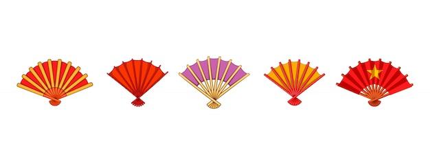 Conjunto de elementos de ventilador de mano. conjunto de dibujos animados de elementos de vector de ventilador de mano