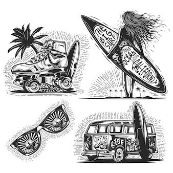 Conjunto de elementos de verano (chica con tabla, gafas de sol, coche, etc.) emblemas, etiquetas, insignias, logotipos.