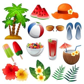 Conjunto de elementos de verano colorido ilustración vectorial mixta