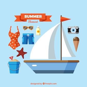 Conjunto de elementos de verano con comida y ropa en estilo plano
