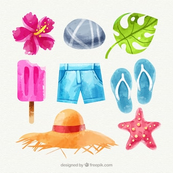 Conjunto de elementos de verano en estilo acuarela