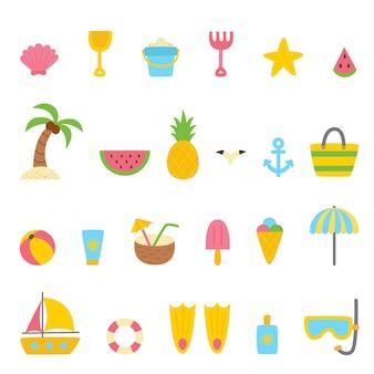 Conjunto de elementos de verano en estilo de dibujos animados. ilustración vectorial. colección de verano.