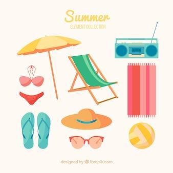 Conjunto de elementos de verano en estilo plano