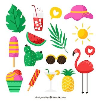 Conjunto de elementos de verano con frutas y comida en estilo plano