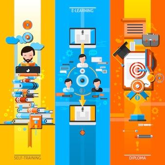 Conjunto de elementos verticales de educación en línea
