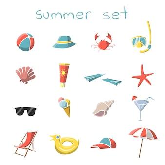 Conjunto de elementos de viaje de vacaciones de verano