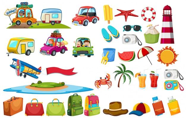 Conjunto de elementos de viaje.
