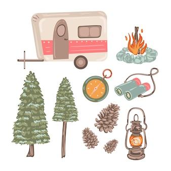 Conjunto de elementos de viajes de aventura.