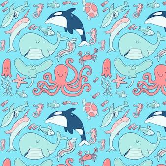 Conjunto con elementos de vida marina dibujados a mano