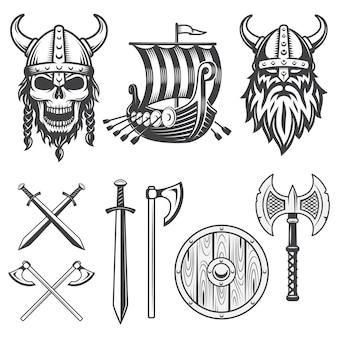 Conjunto de elementos vikingos monocromos aislado sobre fondo blanco.