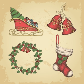 Conjunto de elementos vintage dibujados a mano de navidad