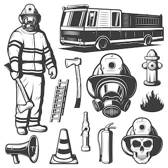 Conjunto de elementos vintage de extinción de incendios