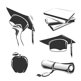 Conjunto de elementos vintage de graduación