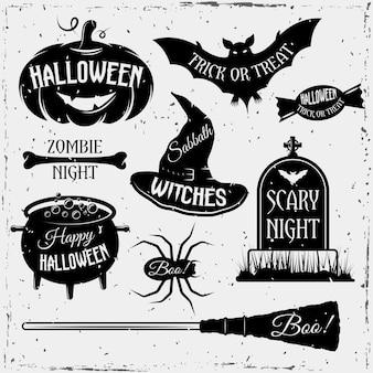 Conjunto de elementos vintage monocromo de halloween con citas