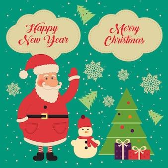 Conjunto de elementos vintage de navidad y año nuevo