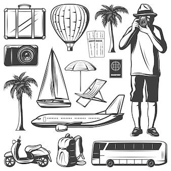 Conjunto de elementos vintage de vacaciones y viajes