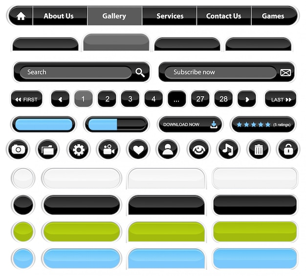Conjunto de elementos web negro