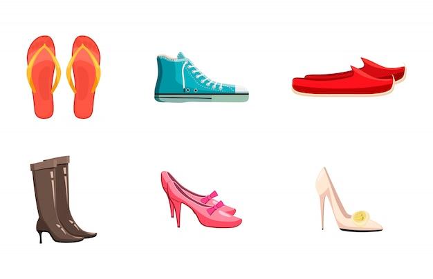 Conjunto de elementos de zapatos. conjunto de dibujos animados de zapatos
