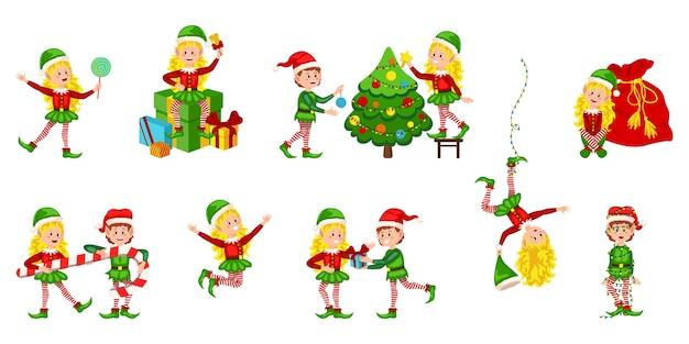 Conjunto de elfos navideños